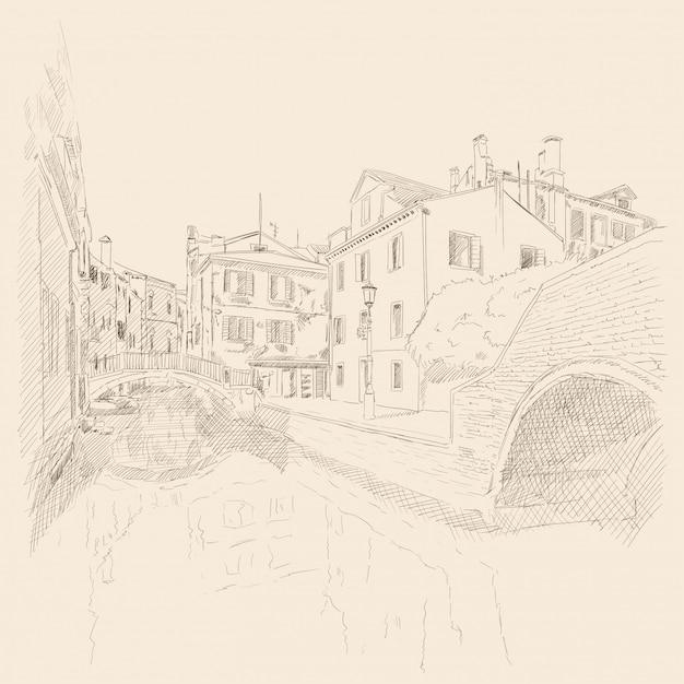 Sceneria Starego Miasta Wenecji. Starożytne Budynki, Kanał Wodny. Szkic Ołówkiem. Premium Wektorów
