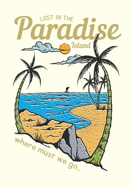 Sceneria Tropikalnej Plaży Z Palmami Kokosowymi W Sezonie Letnim Premium Wektorów