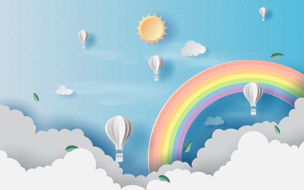 Sceneria widoków cloudscape z balonami na gorące powietrze Premium Wektorów