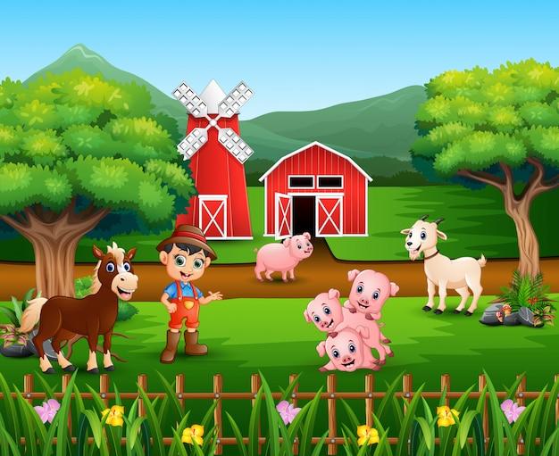 Sceny gospodarstwa z wieloma zwierzętami i rolnikami Premium Wektorów