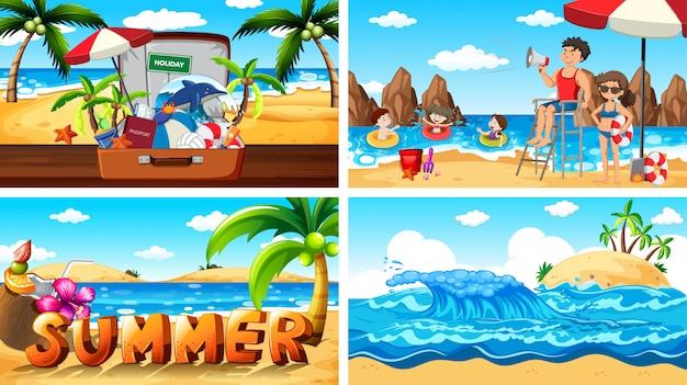 Sceny ilustracyjne z latem na plaży Darmowych Wektorów