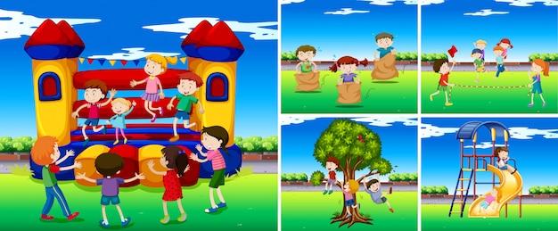 Sceny Z Dziećmi Na Placu Zabaw Darmowych Wektorów