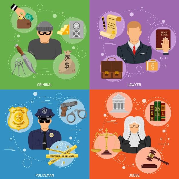 Sceny zbrodni i kary Premium Wektorów