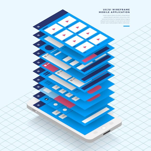 Schemat Blokowy Ux Ui. Koncepcja Aplikacji Mobilnych S Izometryczny. Ilustracja. Premium Wektorów