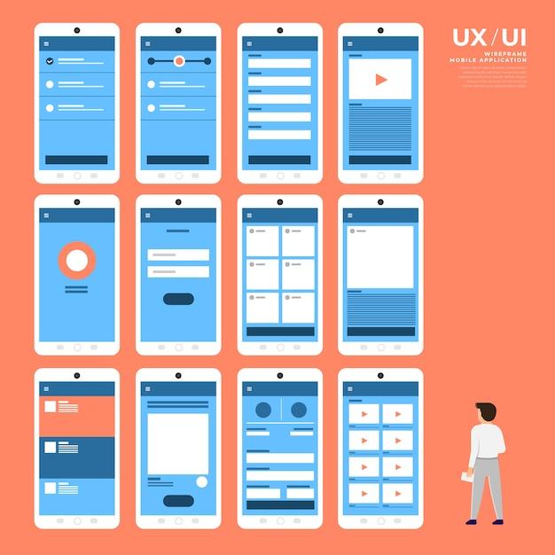 Schemat Blokowy Ux Ui. S Koncepcja Aplikacji Mobilnych. Ilustracja Premium Wektorów