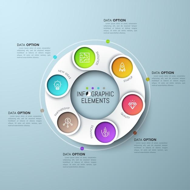 Schemat Pierścieniowy Z Nakładającymi Się Białymi Częściami, Ikonami Na Kolorowym Tle I Polami Tekstowymi. Premium Wektorów