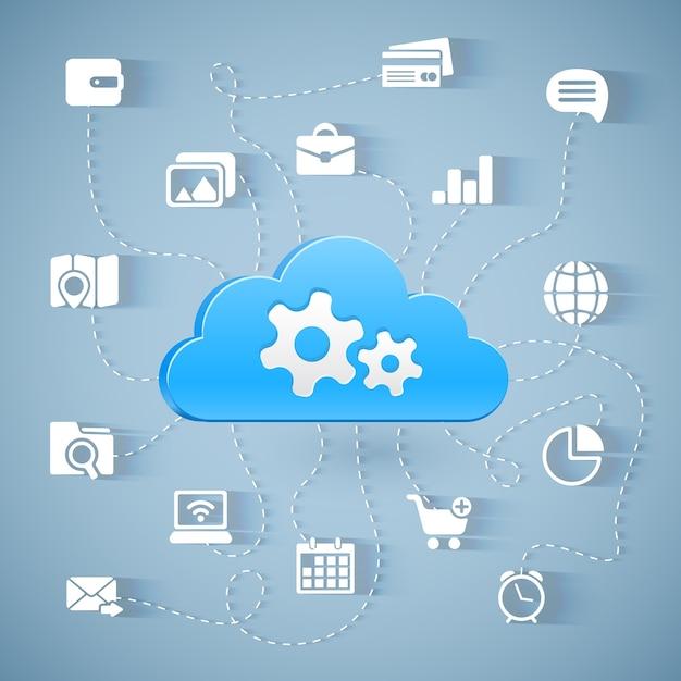 Schemat Technologii Przetwarzania W Chmurze Z Długimi Cieniami Darmowych Wektorów