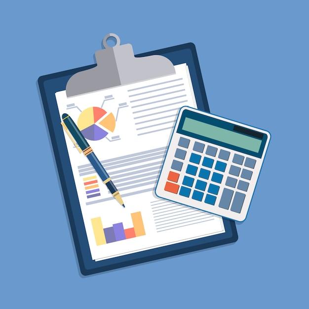 Schowek Z Raportami Finansowymi I Piórem. Premium Wektorów