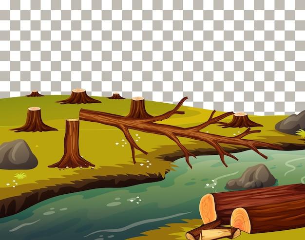 Ścinane Drzewo Obok Rzeki Darmowych Wektorów