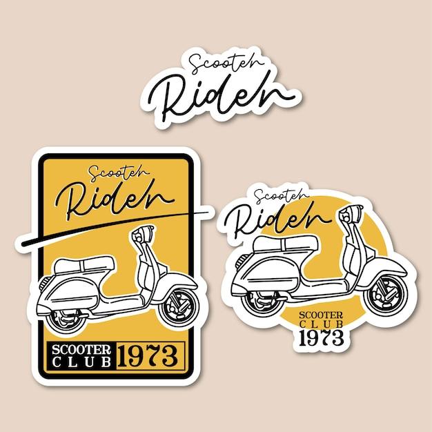 Scooter rider logo vintage Premium Wektorów