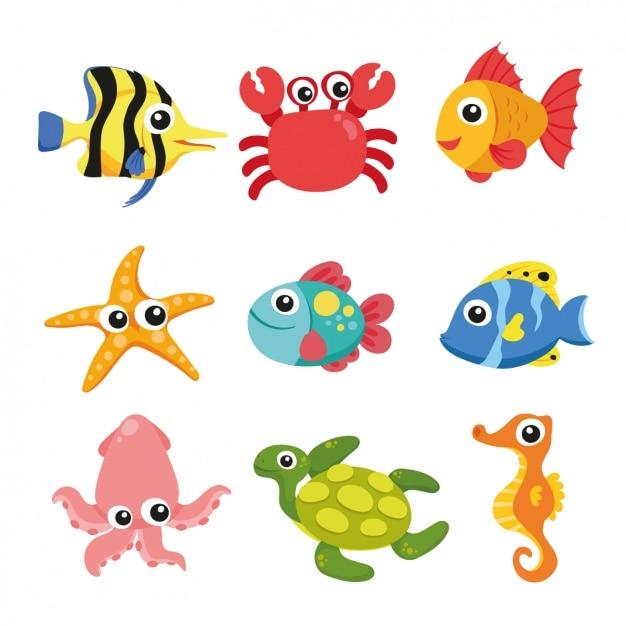 Sea Animals Collection Darmowych Wektorów
