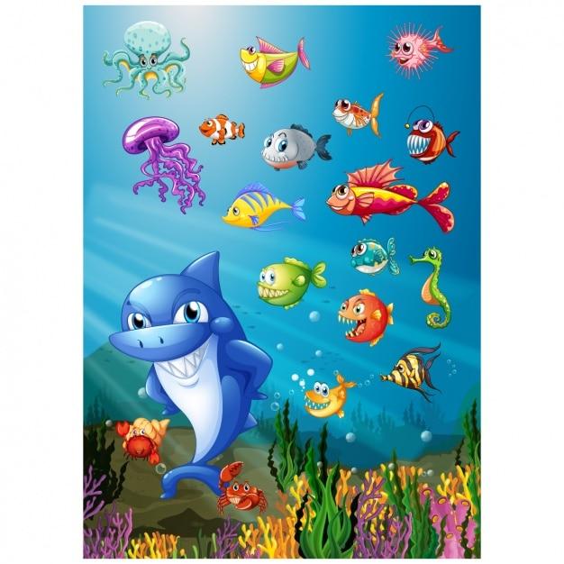 Sea Life Wzór Tła Premium Wektorów