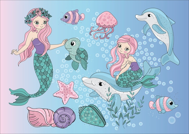 Sea Travel Clipart Color Vector Illustration Set Premium Wektorów