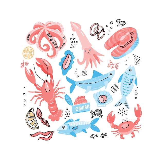 Seafood ręcznie rysowane prosty kolor doodle z rybą, krabem, homarem, kawiorem, stekiem z łososia i kałamarnicą. Premium Wektorów