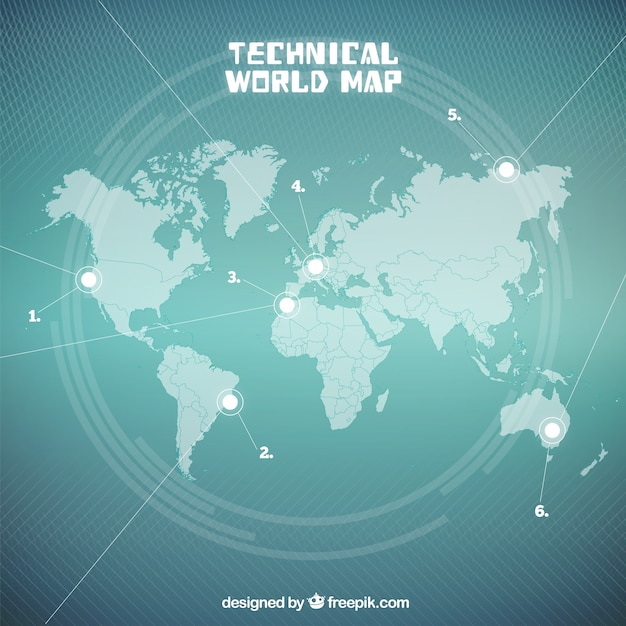 Seagreen Techniczne Mapa świata Premium Wektorów