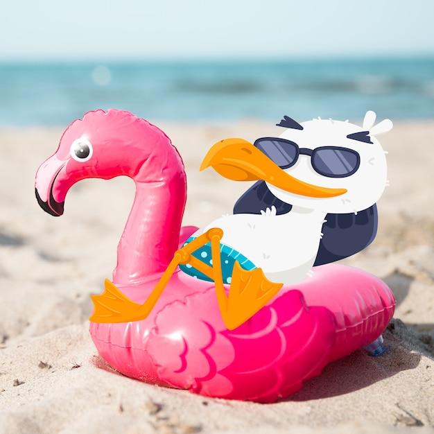 Seagull relaksuje na nadmuchiwanym flamingu Darmowych Wektorów