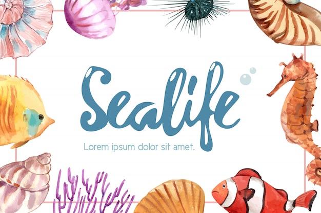 Sealife O Temacie Rama Z Dennym Zwierzęcym Pojęciem, Kreatywnie Akwareli Ilustracja. Darmowych Wektorów