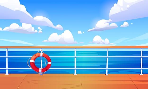 Seascape Widok Z Pokładu Statku Wycieczkowego. Krajobraz Oceanu Ze Spokojną Powierzchnią Wody I Chmurami Na Niebieskim Niebie. Ilustracja Kreskówka Drewnianego Pokładu łodzi Lub Nabrzeża Z Poręczą I Koło Ratunkowe Darmowych Wektorów