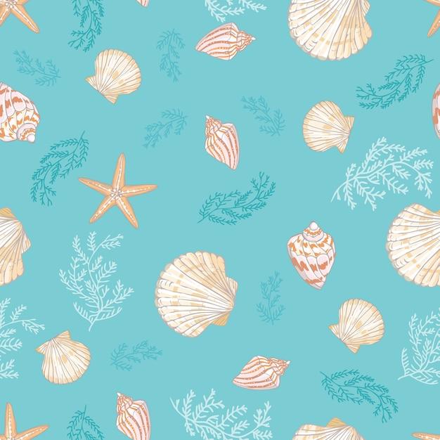 Seashell bezszwowy wzór. Premium Wektorów