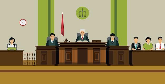 Sędzia I ława Przysięgłych Zasiadają Na Tronie Na Sali Sądowej Premium Wektorów