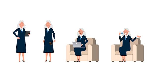 Sędzia Postać Kobiety. Prezentacja W Różnych Działaniach. Premium Wektorów