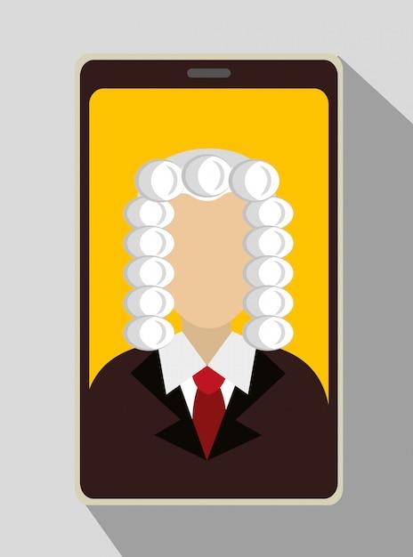 Sędzia Prawa I Sprawiedliwości Na Smartfonie Darmowych Wektorów
