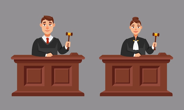 Sędziowie Płci Męskiej I żeńskiej W Stylu Cartoon. Ilustracja Procesu Sądowego. Premium Wektorów