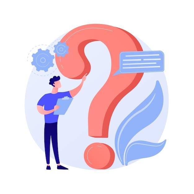 Sekcja Często Zadawanych Pytań. Pomoc Dla Użytkowników, Obsługa Klienta, Często Zadawane Pytania. Rozwiązanie Problemu, Gra Quiz Zmieszany Człowiek Postać Z Kreskówki. Darmowych Wektorów