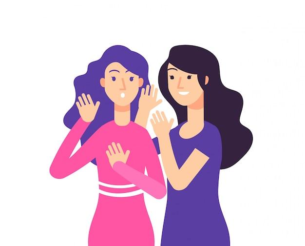 Sekret. Kobiece Plotki Plotkują Szeptem Kobieta Plotkuje Zaskoczona Tajna Dama Szepcze Premium Wektorów