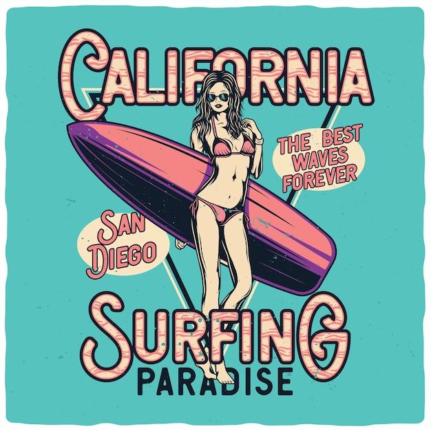 Seksowna Dziewczyna W Bikini Z Deską Surfingową Premium Wektorów
