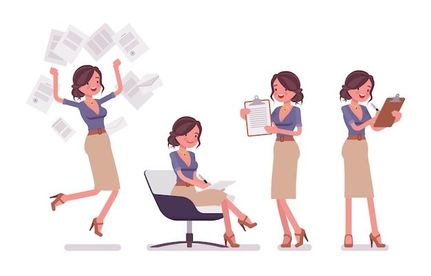 Seksowna Sekretarka Zajęta Papierkową Robotą. Elegancka Asystentka Biurowa Pracująca Z Dokumentami, Robienie Notatek. Administracja Biznesowa. Styl Ilustracja Kreskówka Na Białym Tle Premium Wektorów