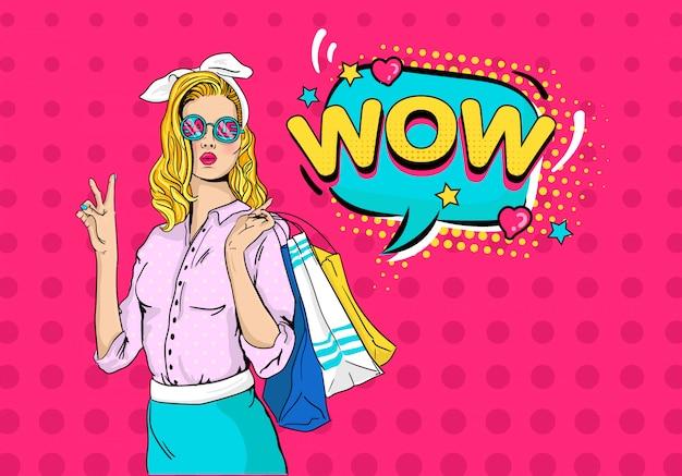 Seksowna zdziwiona młoda kobieta w okulary sprzedaży i blondynki kędzierzawym włosy Premium Wektorów