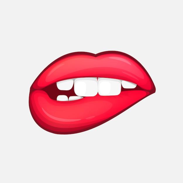 Seksowne kobiece usta na białym tle postać w stylu cartoon Premium Wektorów