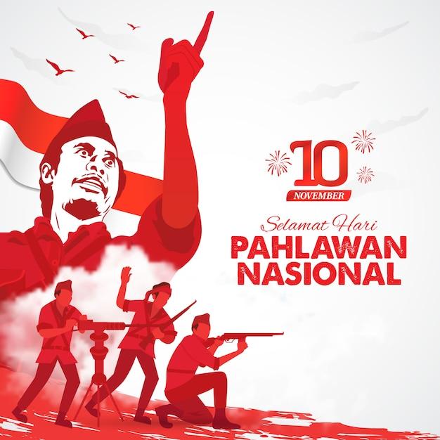 Selamat Hari Pahlawan Nasional. Tłumaczenie: Szczęśliwy Dzień Indonezyjskich Bohaterów Narodowych. Ilustracja Dla Karty Z Pozdrowieniami Premium Wektorów