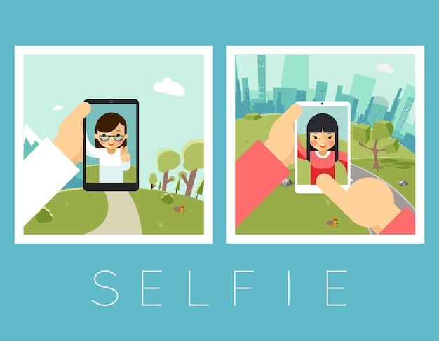 Selfie Dla Kobiet. Zdjęcia Plenerowe I Górskie. Portret I Smartfon, Aparat I Twarz Darmowych Wektorów