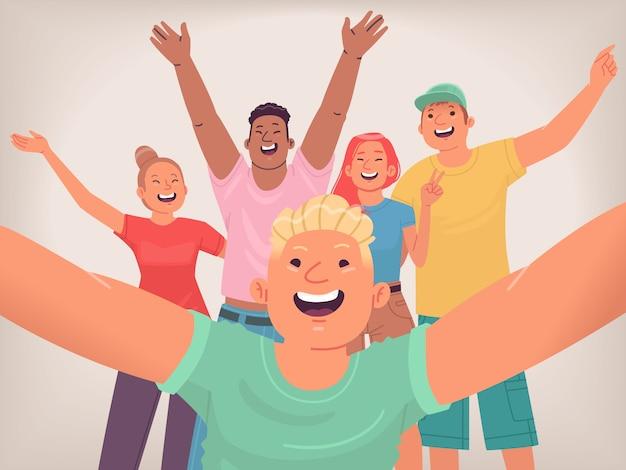 Selfie Szczęśliwych Przyjaciół. Grupa Młodych Ludzi Tworzy Wspólne Zdjęcie Dla Sieci Społecznościowych. Nastolatki Dobrze Się Bawią. Wesoła Młodzież. Ilustracja Wektorowa W Stylu Płaski Premium Wektorów
