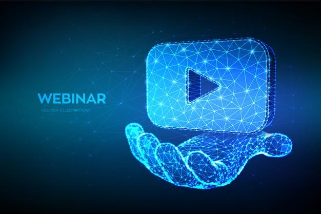 Seminarium Internetowe Streszczenie Niskiej Wielokąta Seminarium Internetowego Lub Ikona Wideo W Ręku. Darmowych Wektorów
