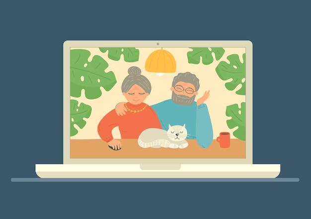 Seniorzy Para Wideokonferencja Na Laptopie. Zostań W Domu. Ilustracja. Premium Wektorów