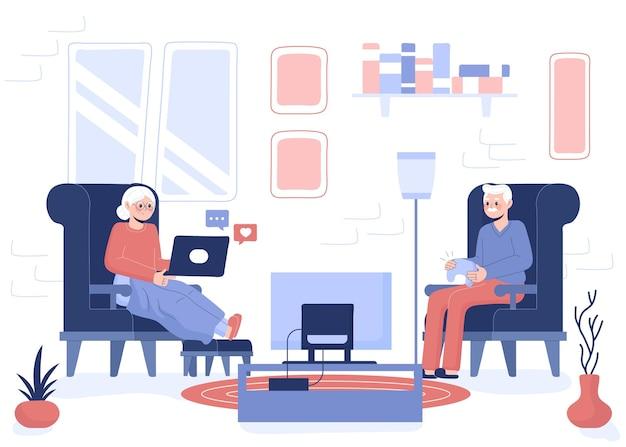 Seniorzy Ręcznie Rysowane Przy Użyciu Ilustracji Technologii Darmowych Wektorów