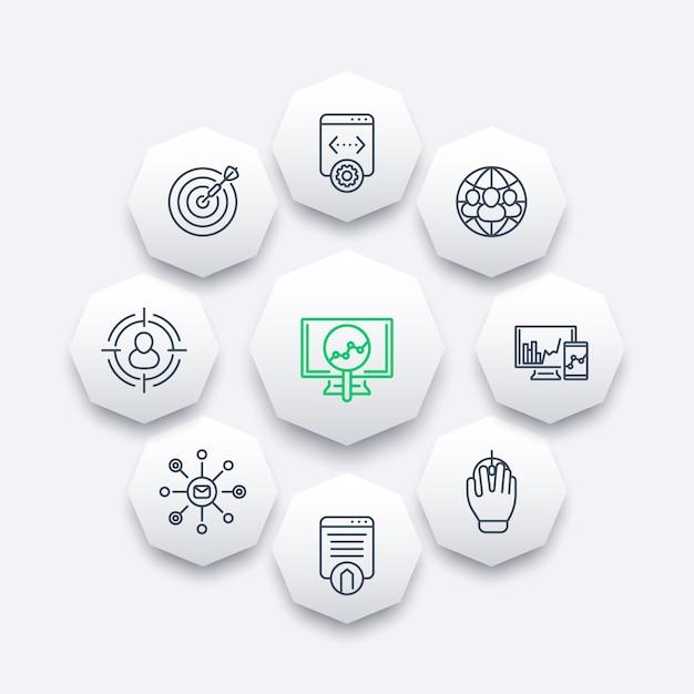 Seo Kreskowe Ikony, Optymalizacja Wyszukiwarek, Marketing Internetowy, Strona Internetowa Indeksuje Ośmiokąt Ikony, Ilustracja Premium Wektorów