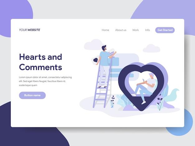 Serca i komentarze ilustracja do stron internetowych Premium Wektorów