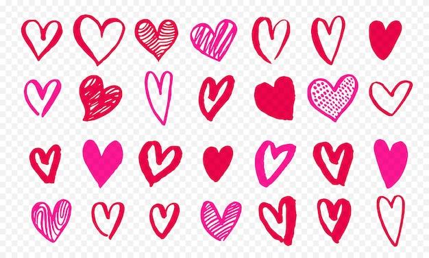 Serca Ikony Ręcznie Rysowane Na Walentynki Premium Wektorów