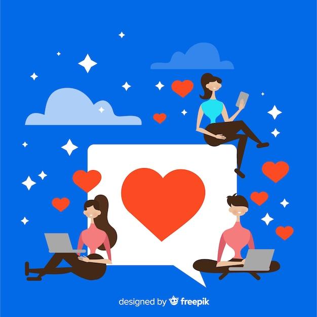 Serce instagram. nastolatki w mediach społecznościowych. projektowanie postaci. Darmowych Wektorów