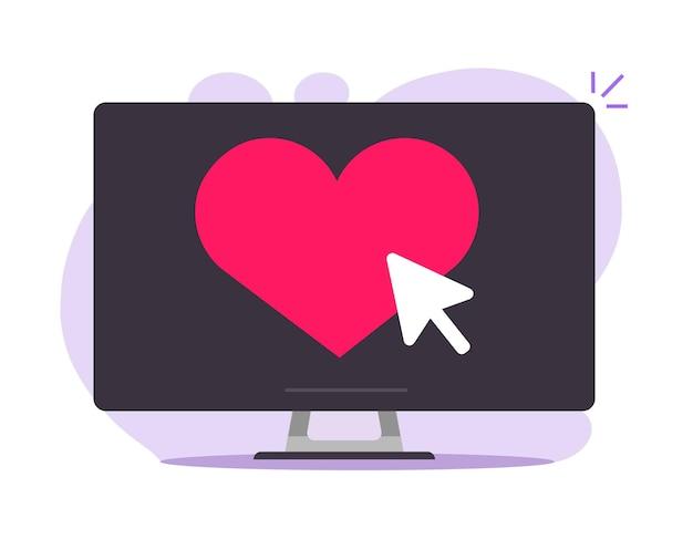 Serce Jak Przycisk Online Na Ekranie Komputera Premium Wektorów
