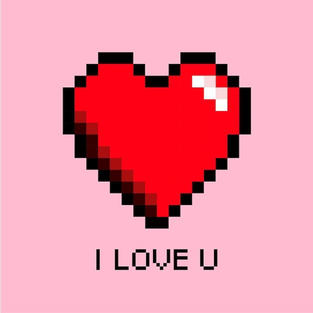Serce Miłość Pixel Art Premium Wektorów