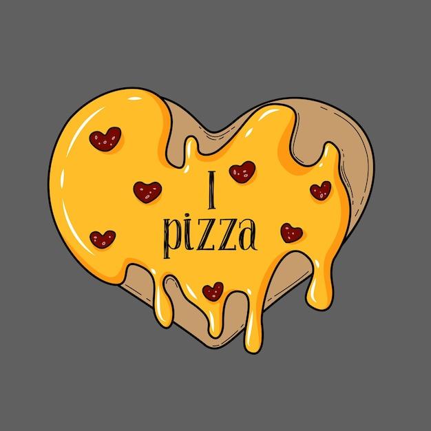 Serce Pizzy Na Szarym Tle Premium Wektorów