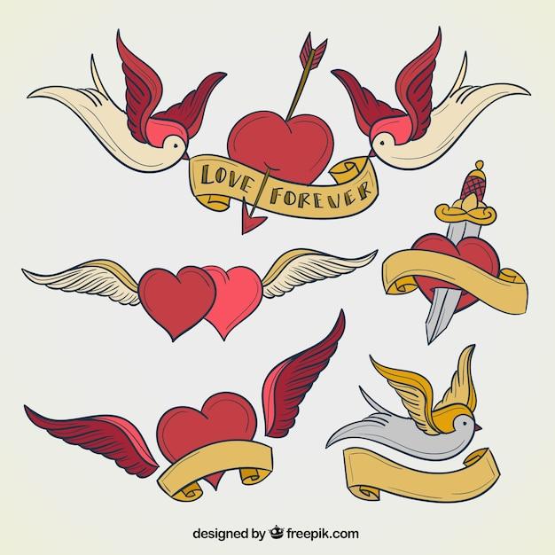 Serce tatuaże kolekcji Darmowych Wektorów