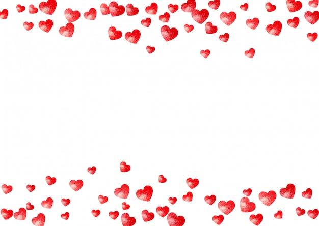 Serce tło ramki z brokatem złote serca. walentynki. konfetti ręcznie rysowane tekstury. Premium Wektorów