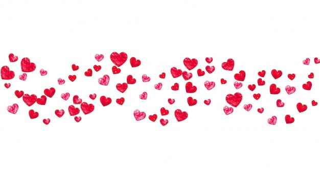 Serce tło ramki z czerwonym brokatem serca. Premium Wektorów