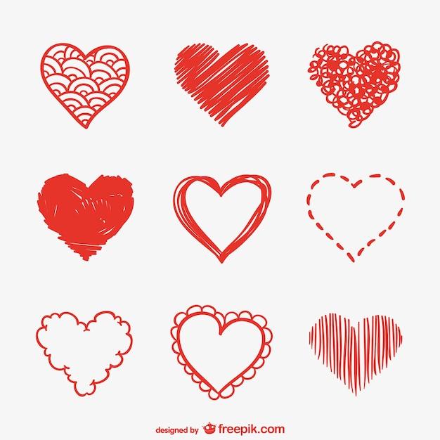 Serce wektor pakiet szkicuje Darmowych Wektorów
